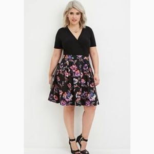Forever 21 plus size watercolor floral print skirt